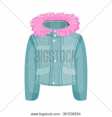 Buttoned Denim Jacket With Furry Hood As Womenswear Vector Illustration