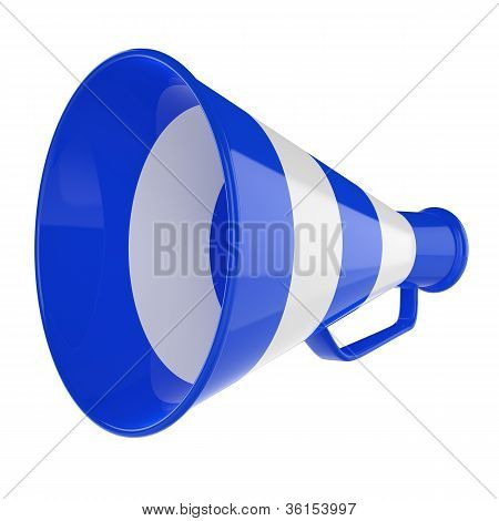3D Bullhorn... Retro megaphone in a blue and white color isolated on white background.