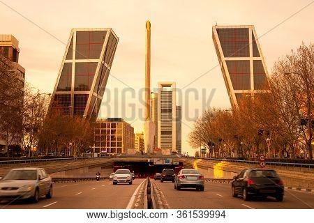 Skyline Of Modern Buildings At Avenue Paseo De La Castellana, Madrid, Spain