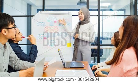 Asian Muslim Woman Lead Group Of Young Asian Business Creative Team In Brainstorm Meeting Presentati