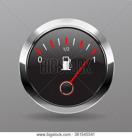 Fuel Gauge. Fuel Indicators Gas Meter. Gauge Vector Tank Full Icon. Car Dial Petrol Gasoline Dashboa