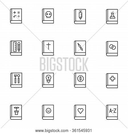 School Books Line Icons Set. Linear Style Symbols Collection, Outline Signs Pack. Education Literatu