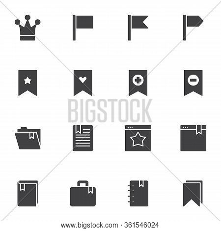 Shortcuts And Bookmarks Vector Icons Set, Modern Solid Symbol Collection, Filled Style Pictogram Pac