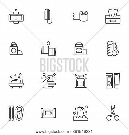 Hygiene Products Line Icons Set. Linear Style Symbols Collection, Outline Signs Pack. Vector Graphic