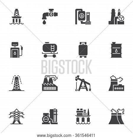 Oil Industry Vector Icons Set, Modern Solid Symbol Collection, Filled Style Pictogram Pack. Signs Lo