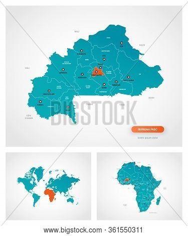 Editable Template Of Map Of Burkina Faso With Marks. Burkina Faso  On World Map And On Africa Map.