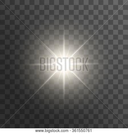Realistic Sun Rays. White Sun Ray Glow Abstract Shine Light Effect Starburst Sun Beam Sunshine Glowi