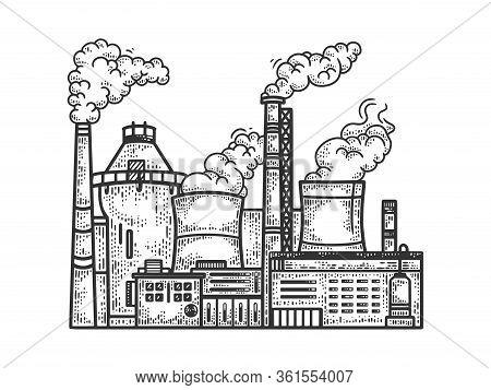 Industrial Factory Sketch Engraving Vector Illustration. T-shirt Apparel Print Design. Scratch Board
