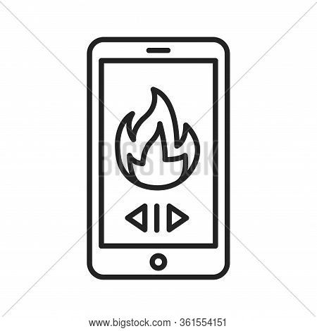 Remote Control Of Heating In The House Black Line Icon. Home Heating. Heat Regulation In The House.