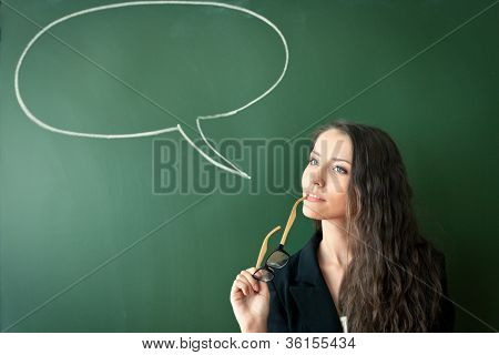 woman over blackboard with cloud