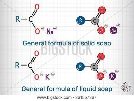 General Formula Of Solid And Liquid Soap Molecule. Rcoona, Rcook. Molecule Model. Sheet Of Paper In