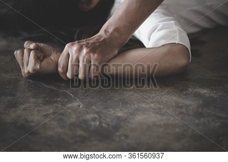 Man's Hand Holding A Woman Hand For Rape And Sexual Abuse Concept, Wound Domestic Violence Rape, Con