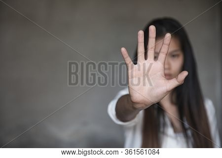 Woman Raised Her Hand For Dissuade, The Concept Of Stopping Violence Against Women Andand Human Traf