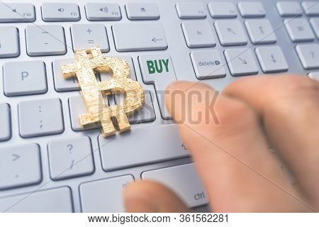 Bitcoin Buy Concept. Toned Soft Focus Picture. Conceptual Image For Worldwide Cryptocurrency And Dig