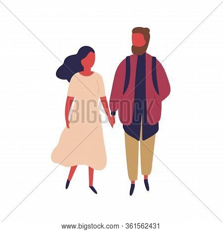 Elegant Cartoon Woman And Hipster Man Holding Hands Vector Flat Illustration. Enamored Colorful Coup