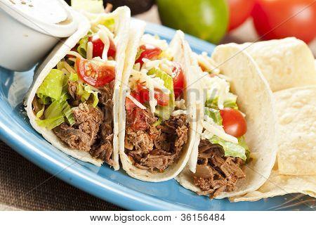Fresh Homemade Shredded Beef Tacos