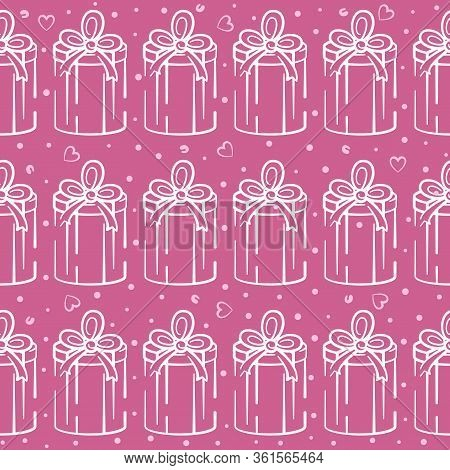 Gift Box Vector Seamless Pattern On Pink Background. Pink And White Holiday Background Hand-drawn. D