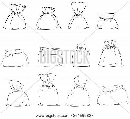 Set Canvas Bag Vector. Burlap Sack Isolated White Background. Illustration
