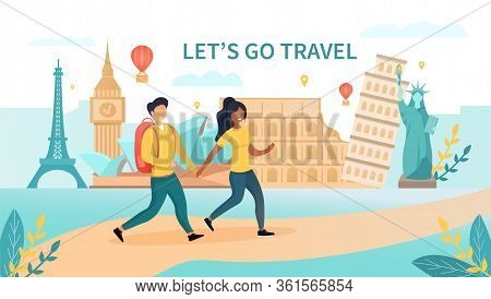 Travelling Concept With A Multiethnic Couple Walking Against The Eiffel Tower, Coliseum And Statue O