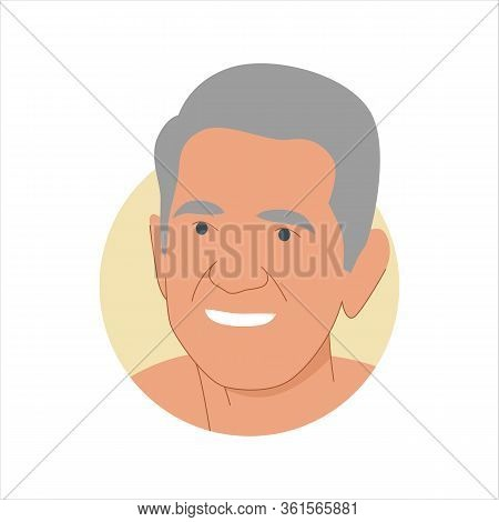 Vector Illustration Of A Portrait Of A Happy Smiling Gray-haired Elderly Man. It Represents A Concep