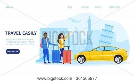 Ride Hailing Or Car Sharing Concept Withe A Multiracial Couple Of Tourists Ordering A Yellow Car, Ve