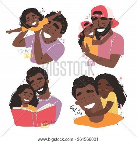 Fathers Day, Happy Family, Black African American Daughter Hugs Dad And Smiling
