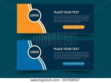 Blue Banner Design. Abstract Poster Vector. Facebook Cover. Green Banner