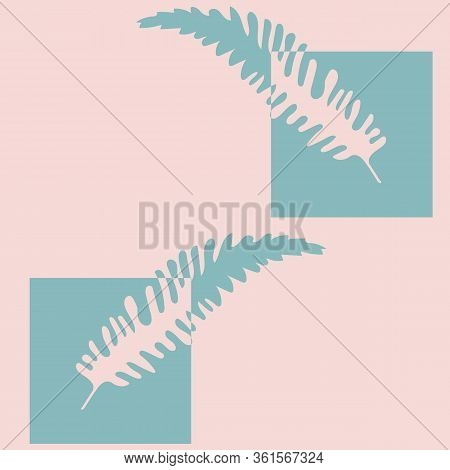 Abstract Fern Leaves Vector Seamless Pattern Background. Geometric Forest Plant Frond Pink Blue Teal