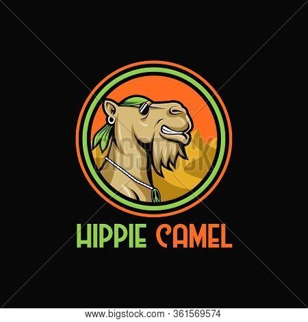 Camel Hippie Mascot Cartoon Vector Illustration Amazing Design For Your Company Or Brand