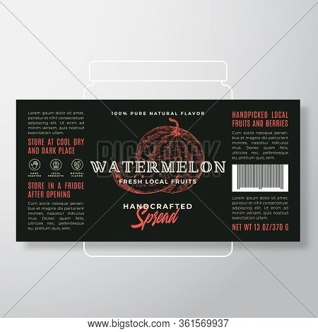 Handcrafted Fruit Spread Or Jam Label Template. Abstract Vector Packaging Design Layout. Modern Typo