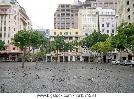 Cape Town, South Africa - 16 April 2020 : Empty Streets In Te Normally Bustling Greenmarket Square I