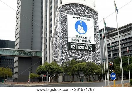 Cape Town, South Africa - 16 April 2020 : Hand Washing Sign On A Buikding On An Office Building In C