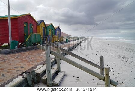 Cape Town, South Africa - 16 April 2020 : Empty Changerooms And Beach At Muizenberg In Cape Town, So
