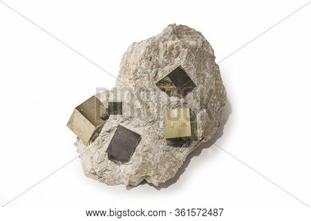 Small Pyrite Or Fools Gold Rock Or Pyrite On White
