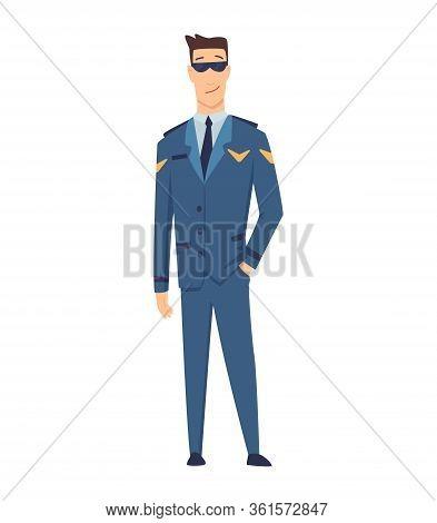 Smiling Civilian Aircraft Pilot, Aircrew Captain, Aviator Or Airman Dressed In Uniform. Cheerful Mal