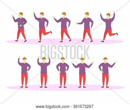 Moving And Jumping Characters Guys In Colorful Clothes. People Lead A Healthy Lifestyle. Set Of Char