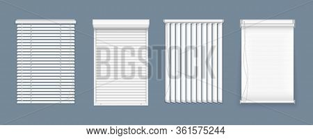 Set Of Horizontal And Vertical Blinds For Window, Element Interior. Realistic Closed Window Shutters