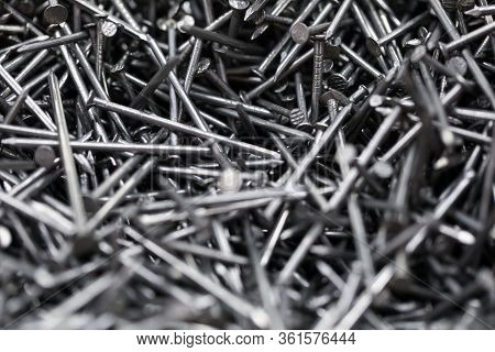 Close-up Of Metal Tacks. Lots Of Nails To Repair Furniture. Detailed Picture With Bunch Of Worker To