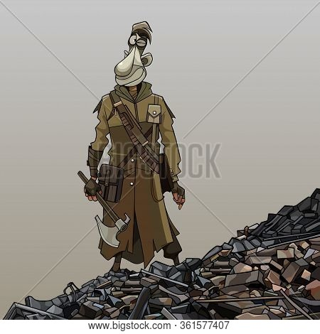 Cartoon Man In Military Clothes Stands On The Ruins Of The Apocalypse