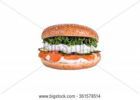 Fresh Burger With Salmon, Philadelphia Cheese, Feta Cheese, Cucumber, Salad Mix Isolated On White Ba