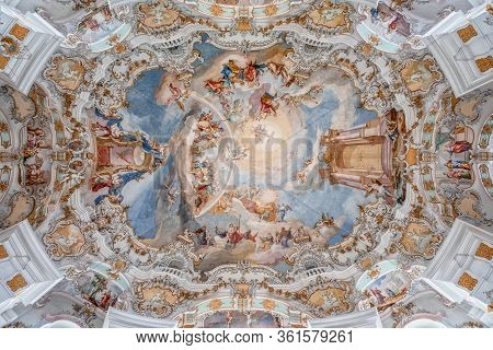 Feb 1 , 2020- Steingaden, Germany: Rococo Style Dome Fresquo Ceiling With Tromp-loeil In Pilgrimage