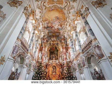 Feb 1, 2020 - Steingaden, Germany: Main Altar With Rococo Ceiling Fresco Inside Pilgrimage Church Of