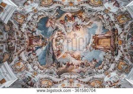 Feb 1 - Steingaden, Germany: Rococo Style Dome Fresquo Ceiling With Tromp-loeil In Pilgrimage Church