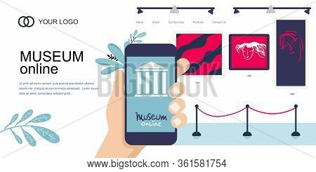 Landing Page Template. Interactive Museum Exhibition. Smartphone. Virtual Museum Online Art Gallery