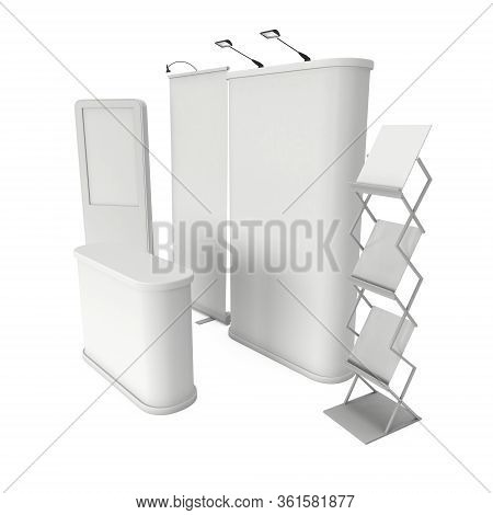 Lcd Screen Floor Stand With Roll-up Pop-up And Reception Desk. Blank Trade Show Booth. 3d Render Of