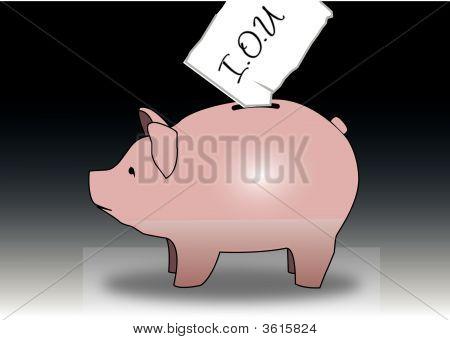 Piggy Bank Iou Illustration