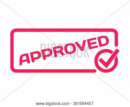 Approved Badge With Hook Icon Flat Vector On White Background. Accepted Theme In Dialog Bubble. Conf