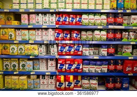Buenos Aires, Argentina - January, 2020: Big Variety Of Mate Tea In A Row In Supermarket. Rows Of Pa