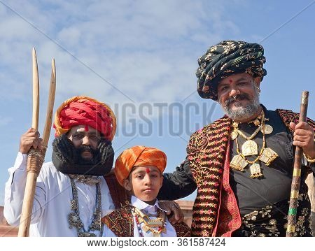 Bikaner, Rajasthan, India - January 11, 2020: Girdhar Vyas Demonstrate His Famous Moustaches And Pos