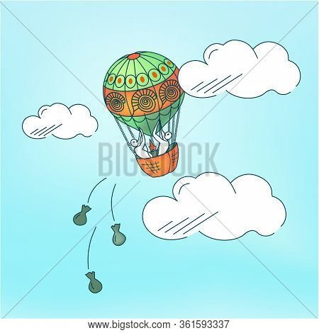 Vector Illustration Of Balloon With Frightened People In A Panic On Topic Of Getting Rid Of Excess C